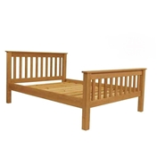 "Double Size Premier Paris Oak Slatted Low End Bed (4ft 6"") - Free Delivery*"