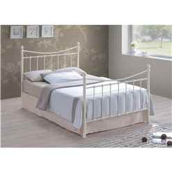 Edwardian Style Ivory Metal Bed Frame - Double 4ft 6""