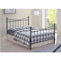 "Black Edwardian Style Metal Bed Frame - Double 4ft 6"" - Free Next Day Delivery*"