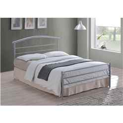 Curved Silver Metal Bed Frame - Single 3ft