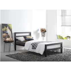 Black Square Tubular Metal Bed Frame - Single 3ft - Free Next Day Delivery*