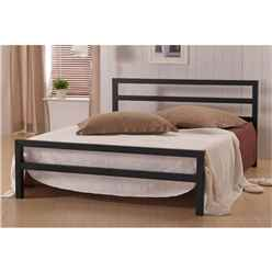 Square Tubular Black Metal Bed Frame - Small Double 4ft