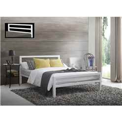 Square Tubular White Metal Bed Frame - King Size 5ft