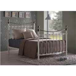 "Elizabeth Ivory Metal Bed Frame - Double 4ft 6"" - Free Next Day Delivery*"