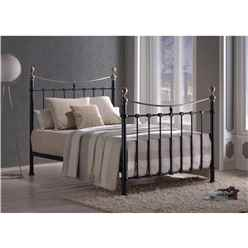"Elizabeth Black Metal Bed Frame - Double 4ft 6"" - Free Next Day Delivery*"