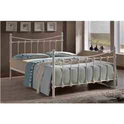 ** PRE ORDER - DUE W/c 4th MARCH ** Ivory Shell Detailed Metal Bed Frame - Single 3ft - Free Next Day Delivery*