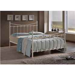 Florida Ivory Metal Bed Frame - Small Double 4ft - Free Next Day Delivery*