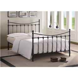 Shell Detailed Black Metal Bed Frame - King Size 5ft