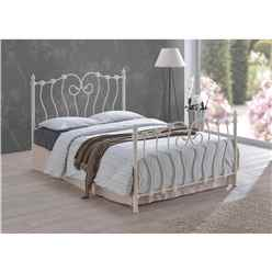 Intricate Weave Ivory Metal Bed Frame - Double 4ft 6""