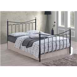 "Black & Silver Chrome Metal Bed Frame - Double 4ft 6"" - Free Next Day Delivery*"