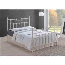 Tuscan Style Ivory Metal Bed Frame - King Size 5ft