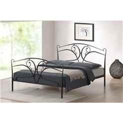 "Vine Style Black Metal Bed Frame - Double 4ft 6"" - Free Next Day Delivery*"