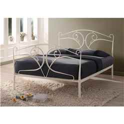"Vine Style Ivory Metal Bed Frame - Double 4ft 6"" - Free Next Day Delivery*"