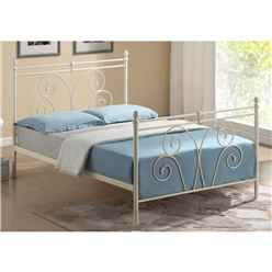 "Flower Bud Style Ivory Metal Bed Frame - Double 4ft 6"" - Free Next Day Delivery*"