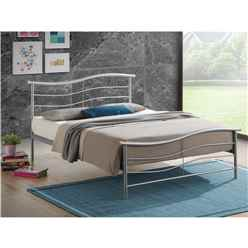 "** PRE ORDER - DUE APRIL ** Silver Wave Style Metal Bed Frame - Double 4ft 6"" - Free Next Day Delivery*"
