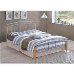 "Silver Metal & Beech Bed Frame - Double 4ft 6"" - Free Next Day Delivery*"
