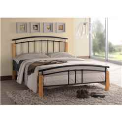 Black Metal & Beech Bed Frame - Small Double 4ft - Free Next Day Delivery*