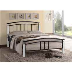 "Black Metal & White Beech Bed Frame - Double 4ft 6"" - Free Next Day Delivery*"