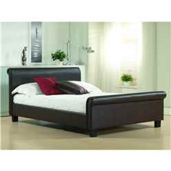 "Brown Real Leather Sleigh Style Bed Frame - Double 4ft 6"" - Free Next Day Delivery*"