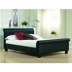 Black Real Leather Sleigh Style Bed Frame - King Size 5ft - Free Next Day Delivery*