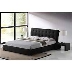 "Black Modern Design Faux Leather Bed Frame - Double 4ft 6"" - Free Next Day Delivery*"