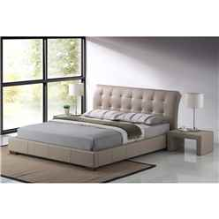 "Stone Modern Design Faux Leather Bed Frame - Double 4ft 6"" - Free Next Day Delivery*"