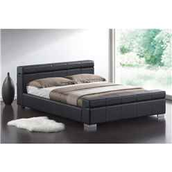 "Black Cubed Sleigh Faux Leather Bed Frame - Double 4ft 6"" - Free Next Day Delivery*"
