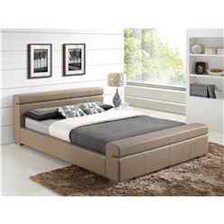 "Stone Cubed Sleigh Style Faux Leather Bed Frame - Double 4ft 6"" - Free Next Day Delivery*"