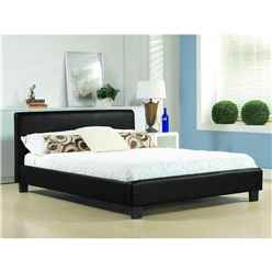 Black Low End Faux Leather Bed Frame - Single 3ft  - Free Next Day Delivery*
