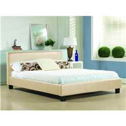 "Cream Low End Faux Leather Bed Frame - Double 4ft 6"" - Free Next Day Delivery*"