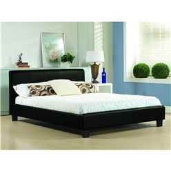 "Black Real Leather Low End Bed Frame - Double 4ft 6"" - Free Next Day Delivery*"