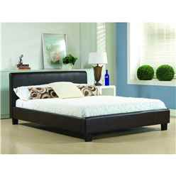 "Brown Real Leather Low End Bed Frame - Double 4ft 6"" - Free Next Day Delivery*"