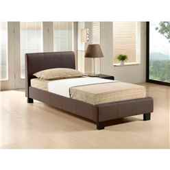 Brown Fabric Bed Frame - Single 3ft  - Free Next Day Delivery*