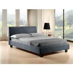 "Pebble Grey Fabric Bed Frame - Double 4ft 6"" - Free Next Day Delivery*"
