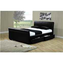 Four Drawer Sleigh Style Black Faux Leather Bed Frame - King Size 5ft - Free Next Day Delivery*