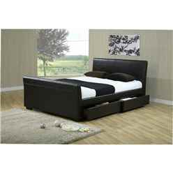 "Brown Four Drawer Sleigh Style Faux Leather Bed Frame - Double 4ft 6"" - Free Next Day Delivery*"