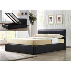 "Brown Ottoman Storage Faux Leather Bed Frame - Double 4ft 6"" - Free Next Day Delivery*"