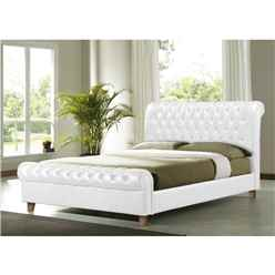 "White Faux Leather Bed Frame - Double 4ft 6"" - Free Next Day Delivery*"