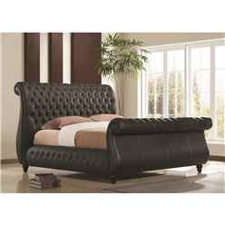 Swan Black Real Leather Bed Frame - King Size 5ft - Free Delivery*