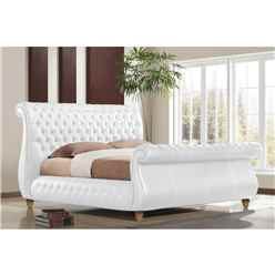 Swan White Real Leather Bed Frame - Super King Size 6ft - Free Delivery*