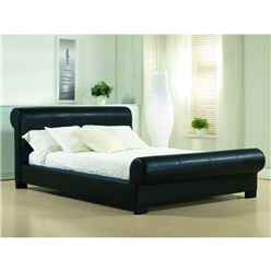 "Black Round End Valencian Style Faux Leather Bed Frame - Double 4ft 6"" - Free Next Day Delivery*"