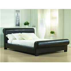 "Brown Round End Valencian Style Faux Leather Bed Frame - Double 4ft 6"" - Free Next Day Delivery*"