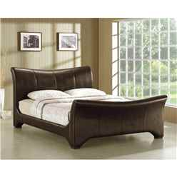 Brown Curved Sleigh Faux Leather Bed Frame - Super King Size 6ft - Free Next Day Delivery*