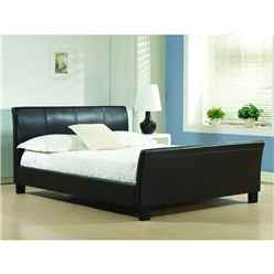 "Brown Faux Leather Sleigh Style Bed Frame - Double 4ft 6"" - Free Next Day Delivery*"