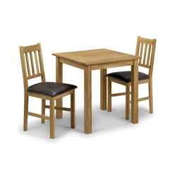 Vintage Style Solid Oak Square Dining Set (Table + 2 Chairs)