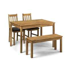 Vintage Style Solid Oak Rectangular Dining Set (Table + 2 Chairs + Bench)