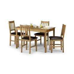 Vintage Style Solid Oak Rectangular Dining Set (Table + 4 Chairs)