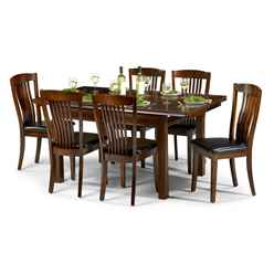 Sleek Mahogany Finish Dining Set (Table + 4 Chairs)