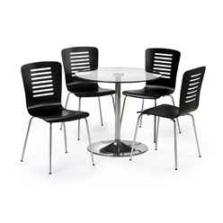 Modernistic Glass Pedestal Table Dining Set (Table + 4 Chairs)
