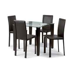 Quattro Set Price - Square Glass Table + 4 Chairs